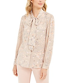 Tie-Neck Floral Button-Up Blouse