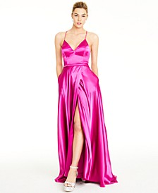 Juniors' Lace-Up Charmeuse Gown