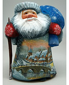 Woodcarved and Hand Painted Frosted Village Bridge Santa Figurine