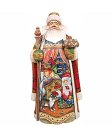 Woodcarved and Hand Painted All Through The House Santa Claus Figurine