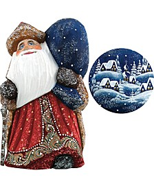 Woodcarved and Hand Painted Santa Yuletide Village Visitor with Bag Figurine