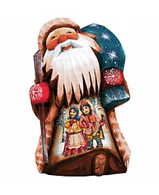 Woodcarved and Hand Painted Forest Companions Santa Figurine