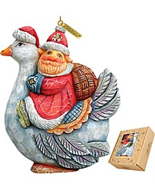 Santa On Goose Ornament