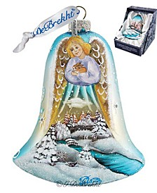 Angel Bell with Bunny Glass Ornament