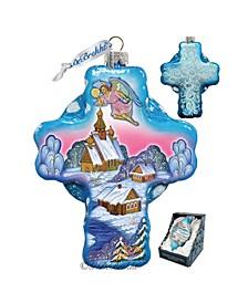 Angel Village Cross Glass Ornament