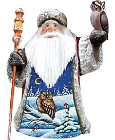 Woodcarved and Hand Painted Santa Watchful Owls Figurine