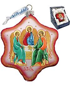 Trinity Nativity Snowflake Glass Ornament