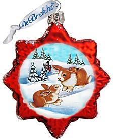 Santa Rabbits Glass Ornament