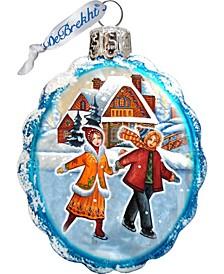 Fun Skiing Glass Ornament