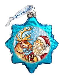 Reindeer Santa Glass Ornament