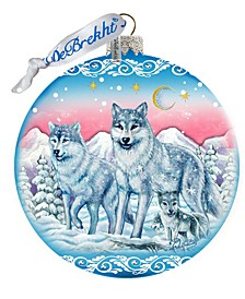 Limited Edition Oversized Guardian of Spirituality Wolves Glass Ball Ornament