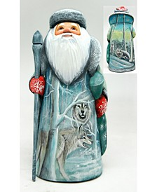 Woodcarved and Hand Painted Lost Wolfs Santa Figurine