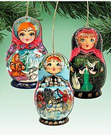 Matreshka Dolls Wooden Ornaments, Set of 3