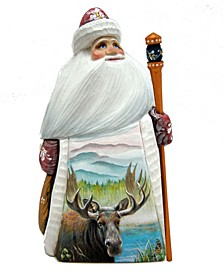 Woodcarved and Hand Painted Santa Moose Figurine