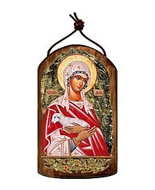 Saint Agnia Wooden Greek Christian Orthodox Icon Ornament