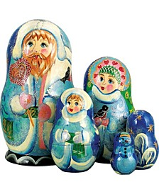 5-Piece Santa Candicane Russian Matryoshka Nested Doll Set