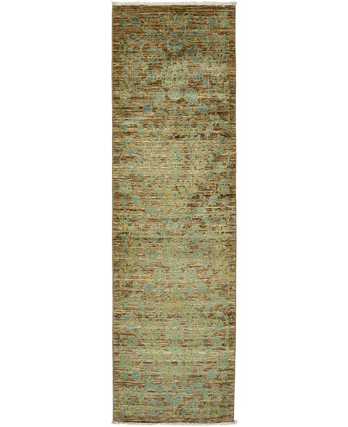 """Timeless Rug Designs CLOSEOUT! One of a Kind OOAK3276 Mocha 3' x 9'10"""" Runner Rug"""