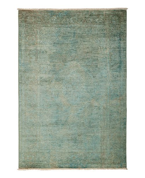 """Timeless Rug Designs One of a Kind OOAK3159 Teal 4'7"""" x 6'9"""" Area Rug"""