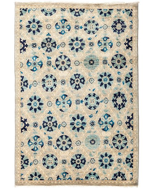 "Timeless Rug Designs CLOSEOUT! One of a Kind OOAK2861 Navy 4'2"" x 6'1"" Area Rug"