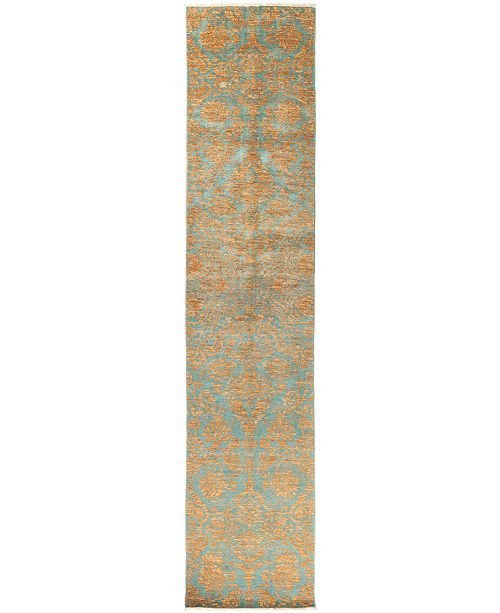 "Timeless Rug Designs CLOSEOUT! One of a Kind OOAK2849 Teal 2'7"" x 12'10"" Runner Rug"
