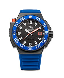 Men's Abisso Blue Silicone Professional Divers Nautical Sport Performance Timepiece Watch 46mm