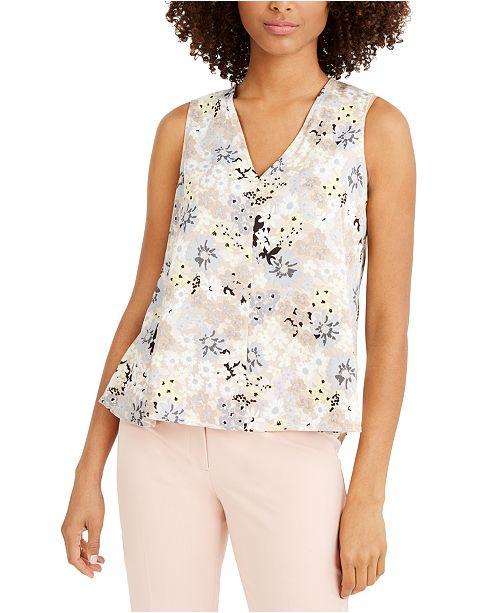 Calvin Klein Floral-Print V-Neck Top