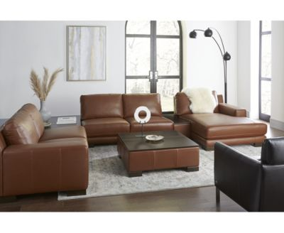 Darrium 5-Pc. Leather Chaise Sectional with Corner Table & Console, Created for Macy's