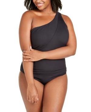 Becca Etc Plus Size Solid Fine Line Asymmetrical One-Piece Swimsuit Women's Swimsuit