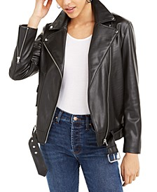 Faux-Leather Moto Jacket, Created For Macy's
