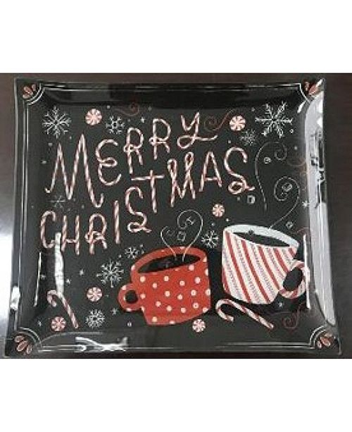 Pfaltzgraff Holiday Christmas Wishes Glass Platter