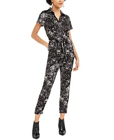 Splatter-Print Utility Jumpsuit, Created For Macy's