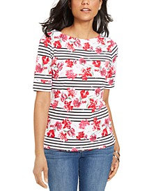 Petite Mixed-Print Short-Sleeve T-Shirt, Created for Macy's