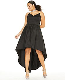 Trendy Plus Size Stretch Taffeta High-Low Gown