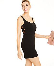 Juniors' Mesh-Inset Bodycon Dress