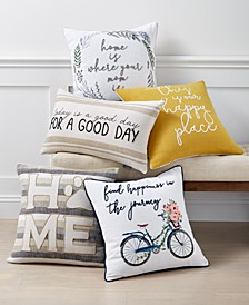 Words Cotton Decorative Pillow Collection