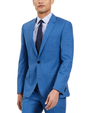 Hugo Men's Slim-Fit Blue/Black Check Suit Jacket, Created for Macy's