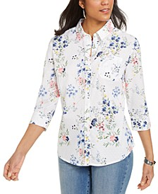 Cotton Clip-Dot Floral-Print Shirt, Created For Macy's