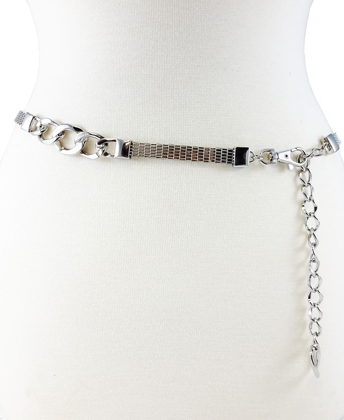 Fashion Focus - Accessories Metal Mesh Chain W/ Status Link Stations
