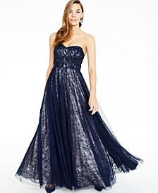 Juniors' Sequin-Trim Strapless Lace Gown, Created For Macy's