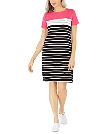 Petite Striped Colorblocked Dress, Created for Macy's