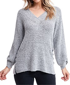 Button-Trim Split-Cuff Sweater