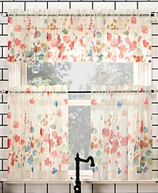 """Rosalind Floral 54"""" x 24"""" Semi-Sheer Valance and Tiers Set"""