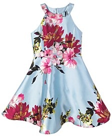 Big Girls Floral-Print Scalloped Mikado Dress