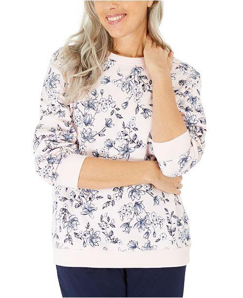 Karen Scott Serene Printed Fleece Sweatshirt, Created For Macy's