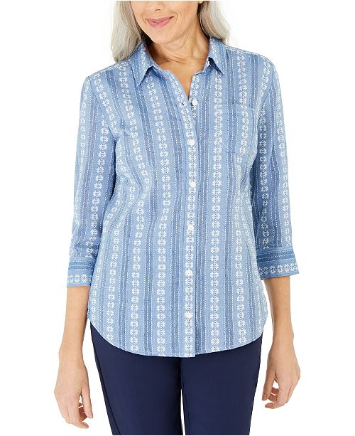 Karen Scott Cotton Printed Shirt, Created for Macy's