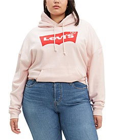 Trendy Plus Size Cotton Fleece Logo Hoodie