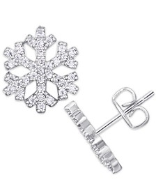 Cubic Zirconia Snowflake Stud Earrings in Fine Silver Plate