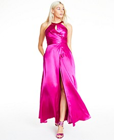 Juniors' Keyhole Cross-Front Gown