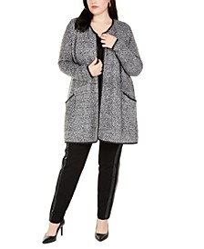 Plus Size Cardigan With Faux-Leather Trim