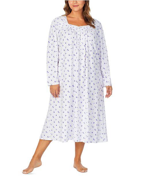 Eileen West Plus Size Cotton Jersey-Knit Floral-Print Ballet Nightgown